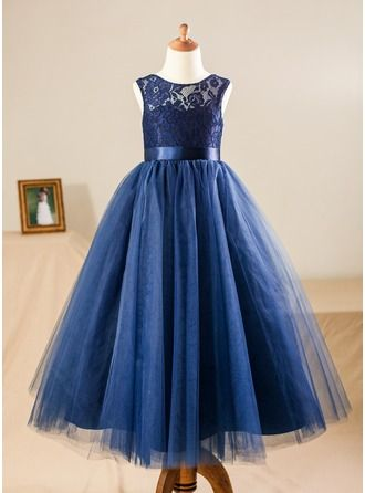 af7e54be45b A-Line Princess Floor-length Flower Girl Dress - Satin Tulle Lace  Sleeveless Scoop Neck With Sash (010090577)