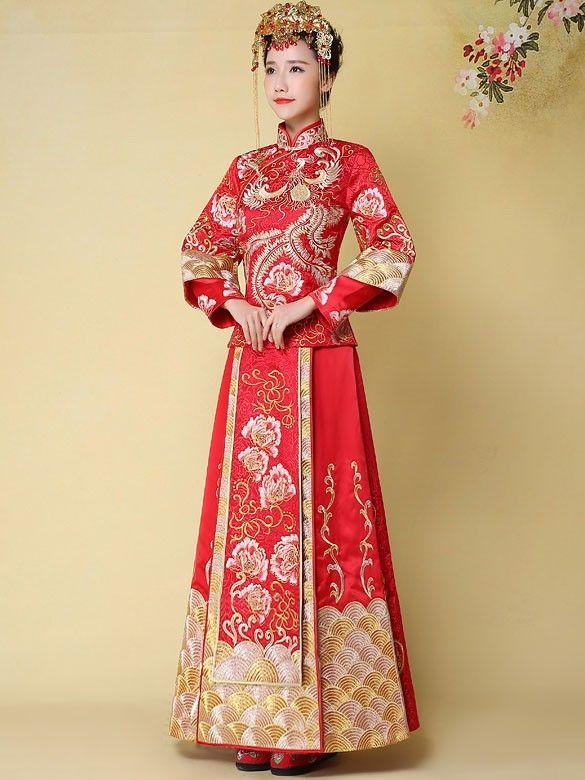 Phoenix Emboridery 2 Piece Chinese Wedding Qun Kwa Cozyladywear