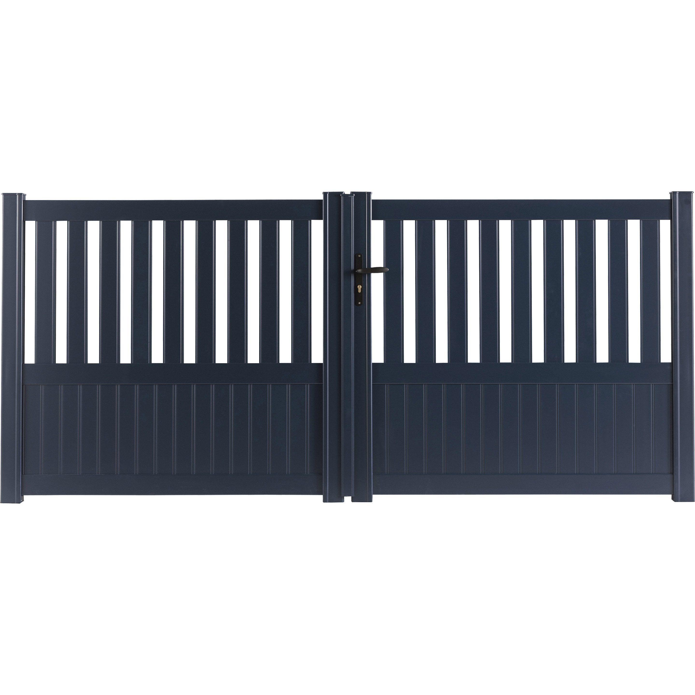 Portail Battant Aluminium Penmarch Gris Anthracite Naterial L 350x H 135 Cm En 2020 Leroy Merlin Portail Et Couleur Gris Anthracite