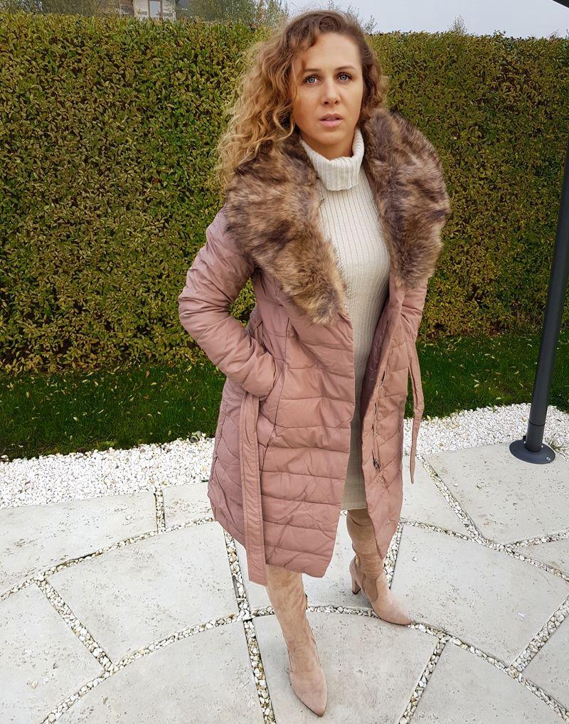 Puchowy Plaszcz Damski Pikowany Zimowa Kurtka Pudrowy Roz Z Futerkiem Coat Fur Coat Fashion