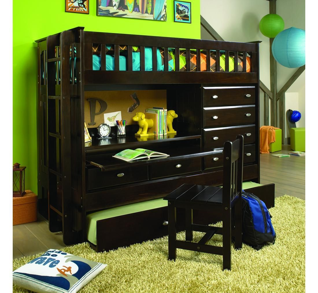 elegant dark brown wooden aspace bunk bed with small study space underneath the bed frame also many storage drawers also dog themed bookcase for kids room