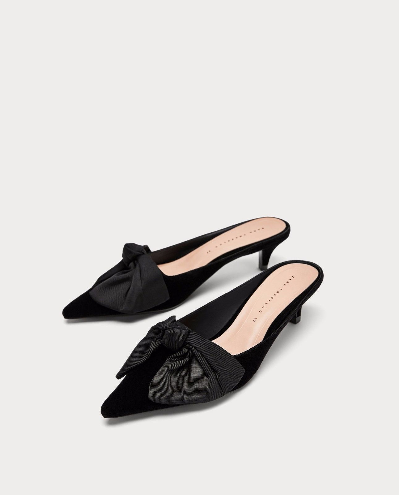 Zara New Kitten Heel Mules With Bow Black 7236 201 Kitten Heels Heels Bow High Heels