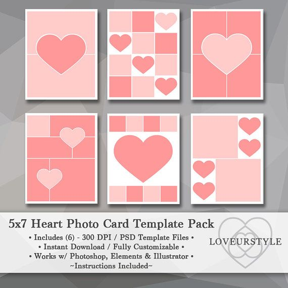 5x7 Photo Template Pack Heart Templates Photo Collage Card Templates Valentines Day Templates Collage Template Instant Download Photo Card Template Collage Template Photo Template