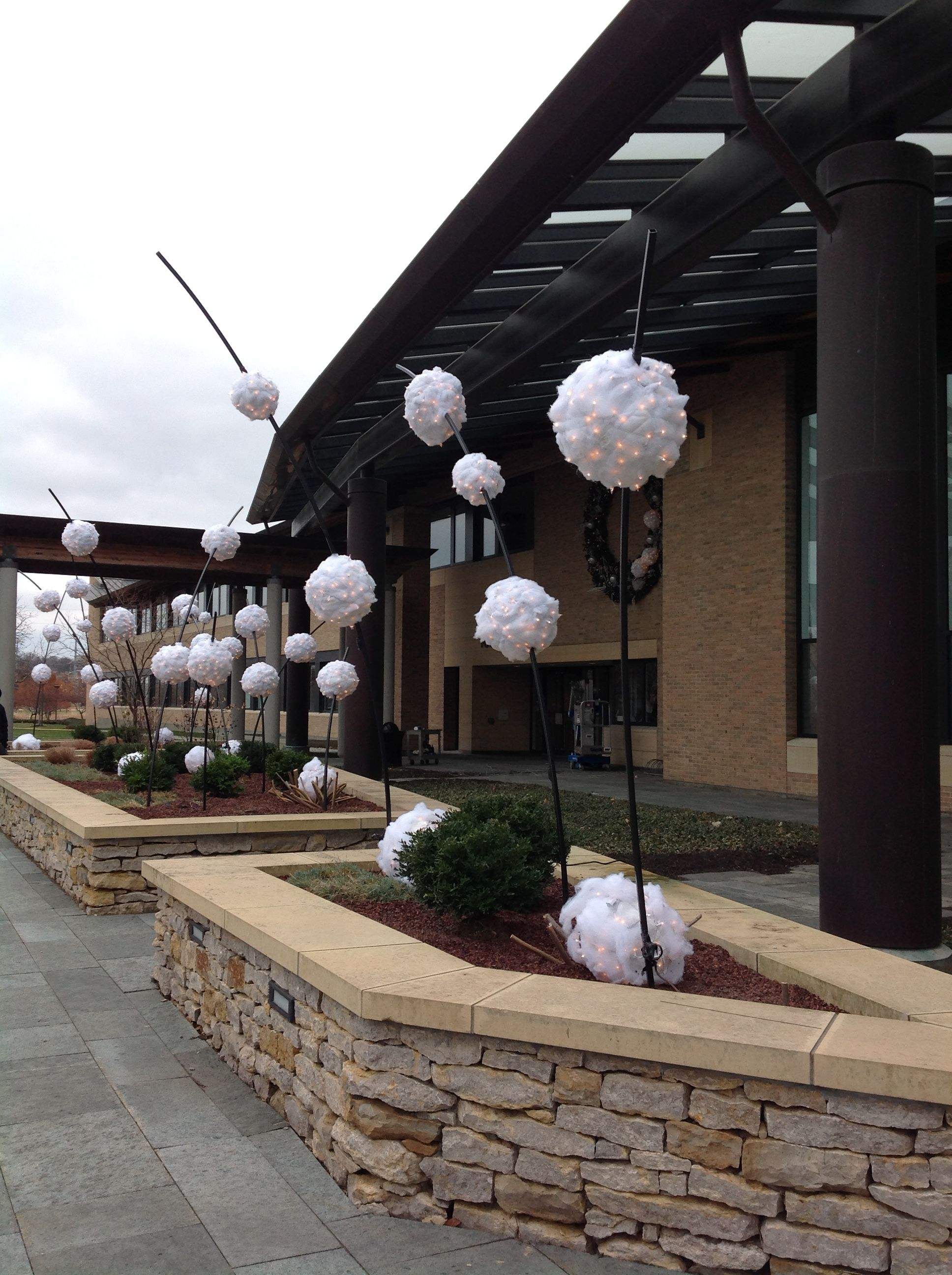 Giant Snowballs & Lights for Outdoor Decor