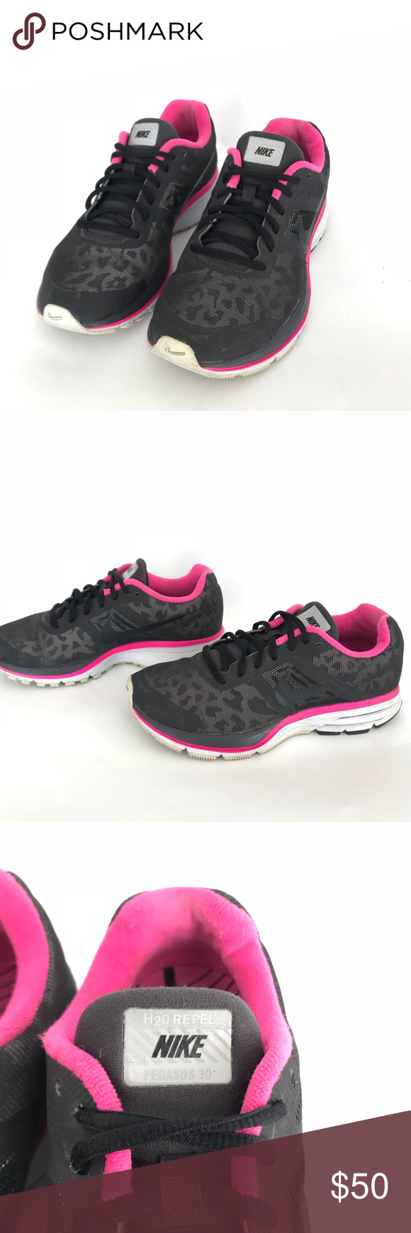 8c1557cd66d0 NIKE Pegasus 3.0 water repel leopard running shoes NIKE Pegasus 3.0 water -  H2O repel leopard running shoes Black and pink leopard print Kept in very  good ...