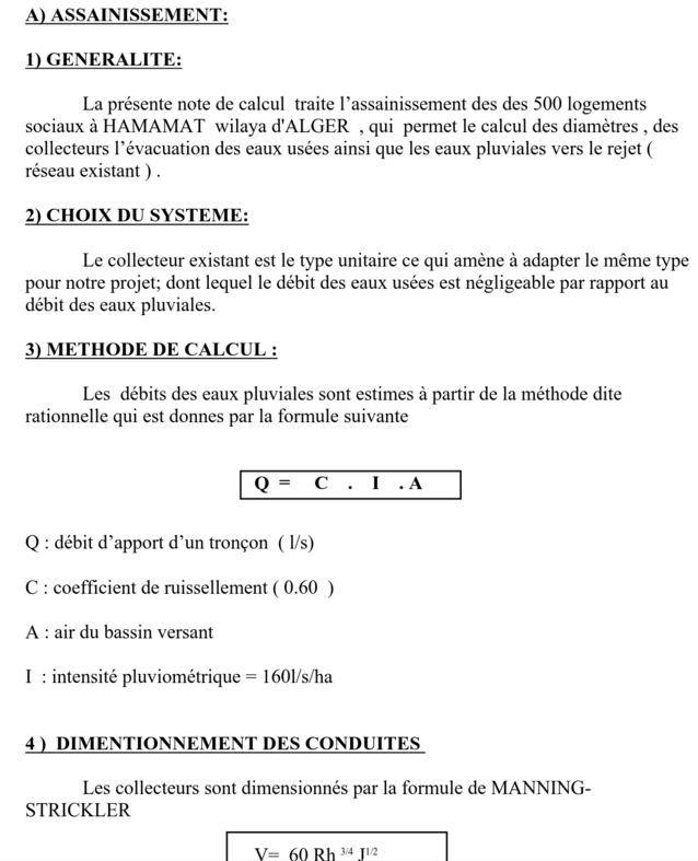 Exemple de note de calcul assainissement cours for Assainissement cours pdf