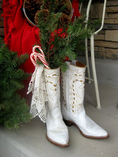 """Mrs. Santa's"" vintage cowgirl boots...  she really is the one who does all the work at Christmas!...  (she being me!)..."