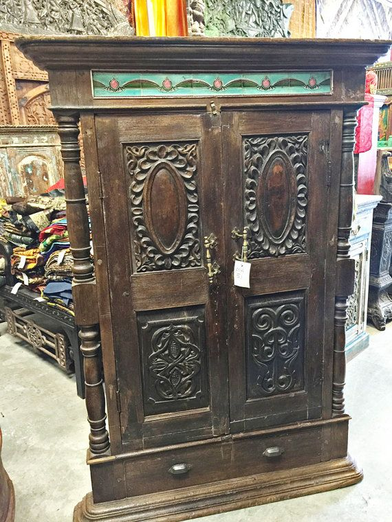 Teak Wood Antique Armoire With Brass Knocker By