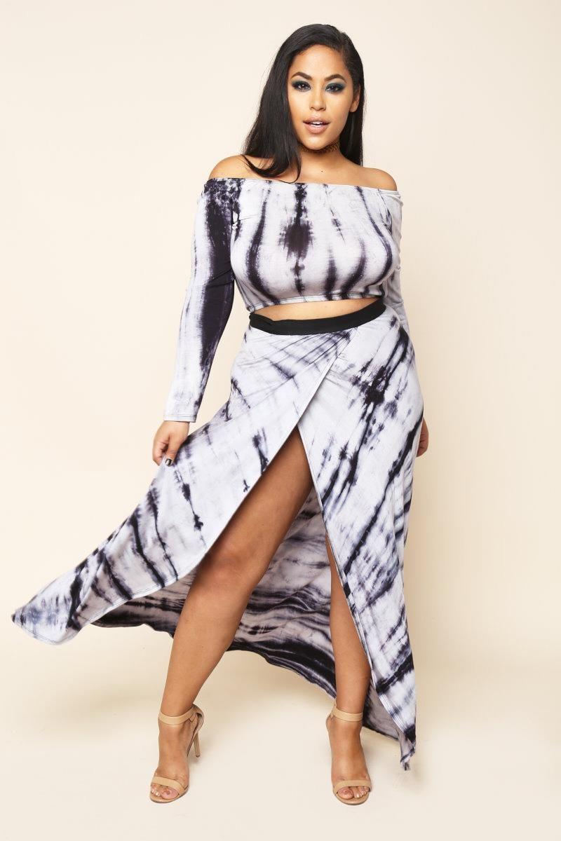 f9f06e335ac65 Tie-Dye Crop Top   Wrap Skirt Set Dresses+ GS-LOVE