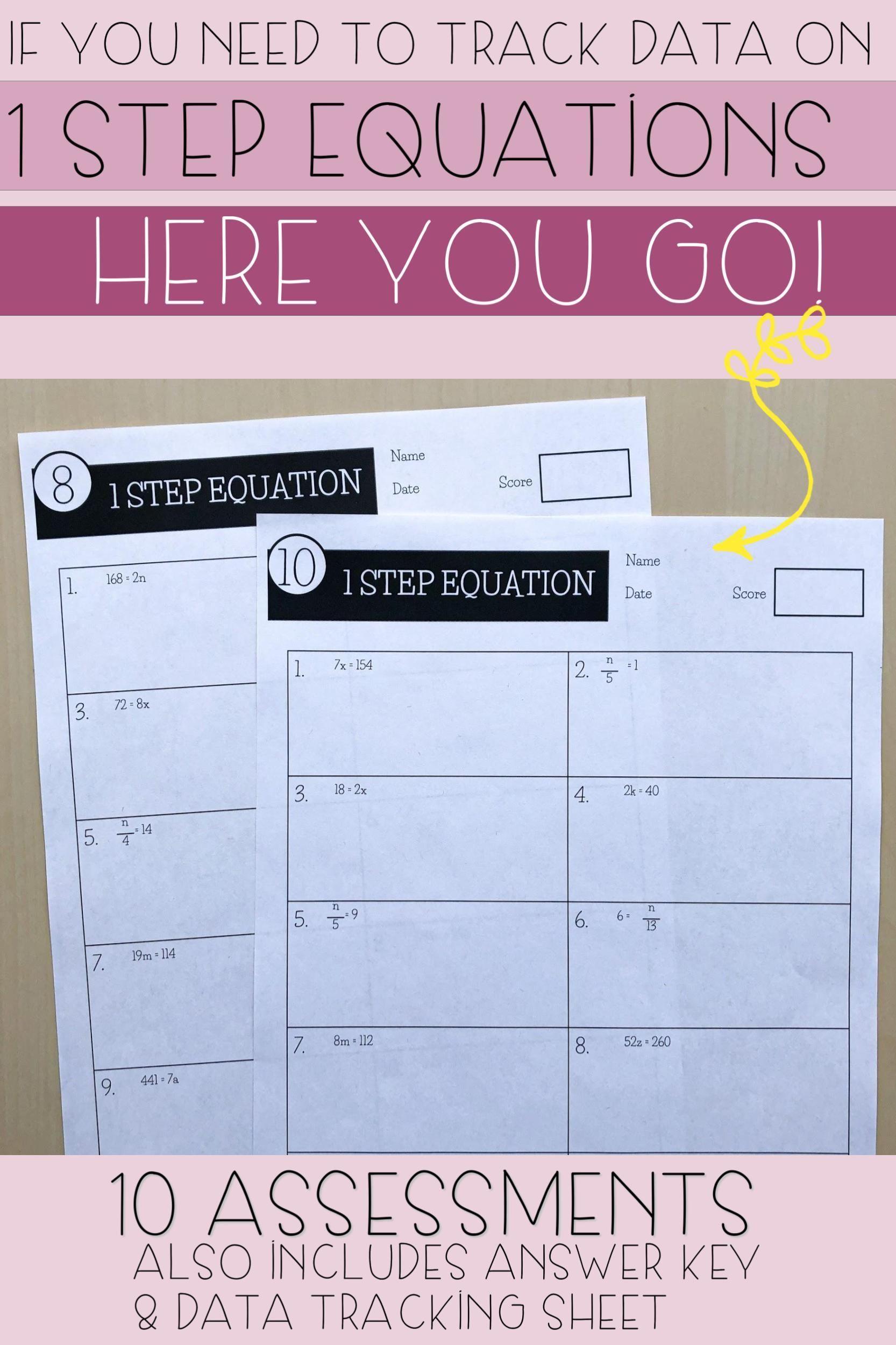 1 Step Equations Worksheets