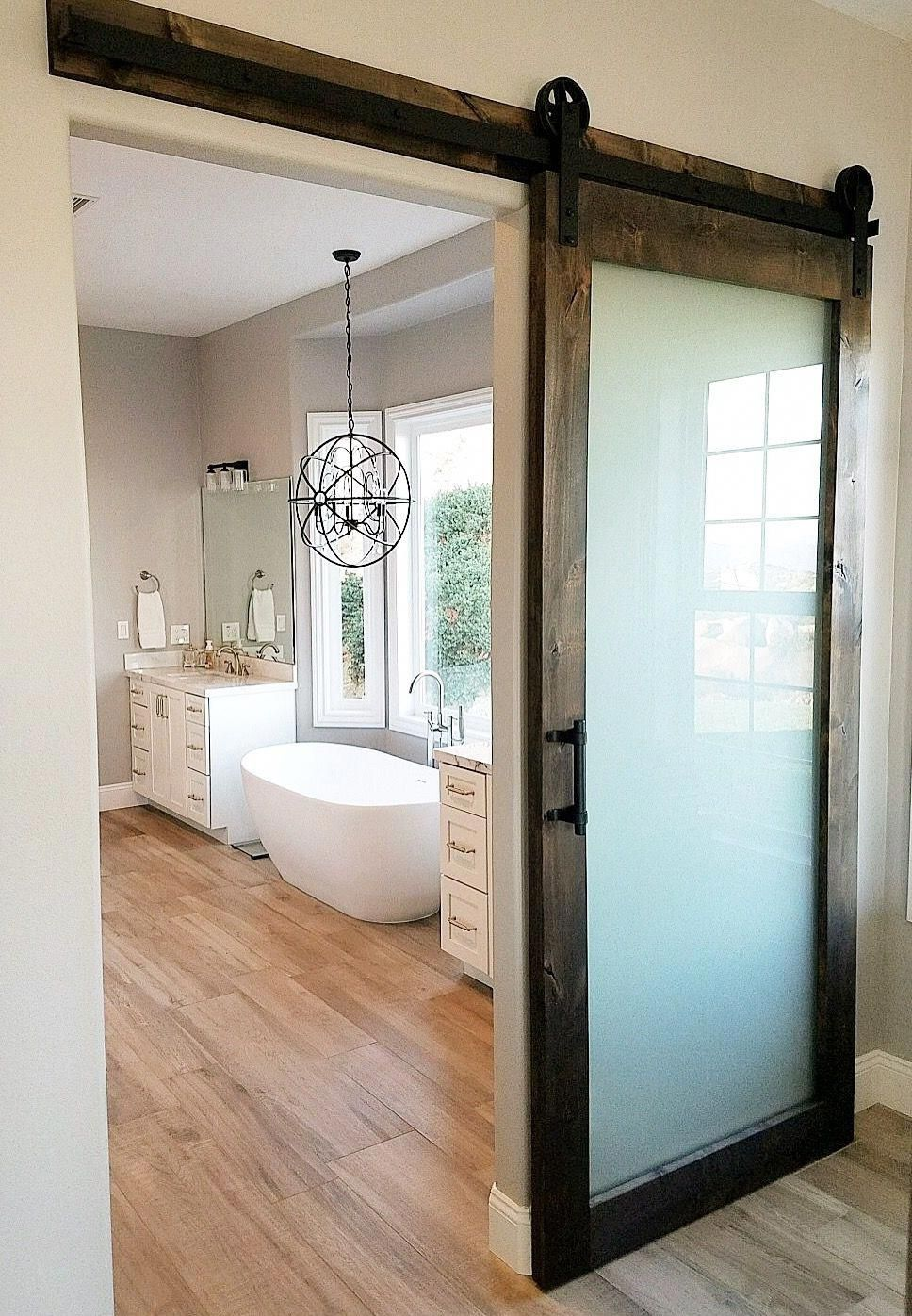 Frosted Glass Knotty Alder Barn Door With Hardware For A Master