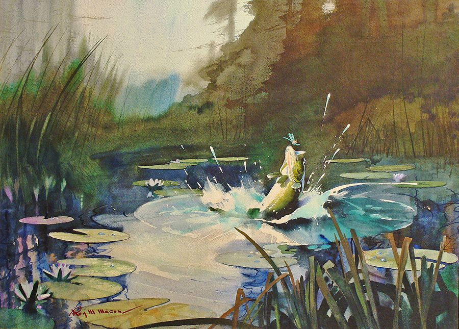 Roy M Mason Making The Catch 22x30 Watercolor Fine Art Watercolor