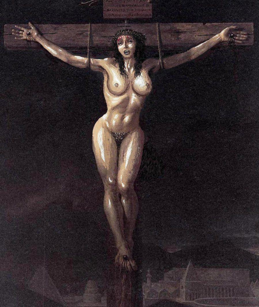 Woman crucified photograph by ramon martinez