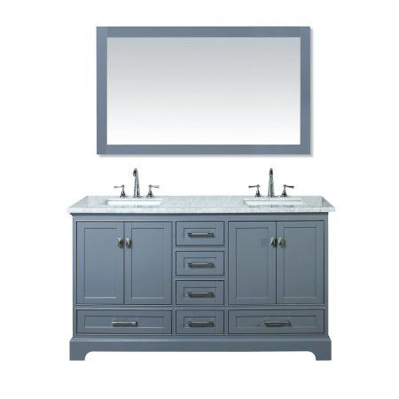 Stufurhome Newport Grey 60 Inch Double Sink Bathroom Vanity With