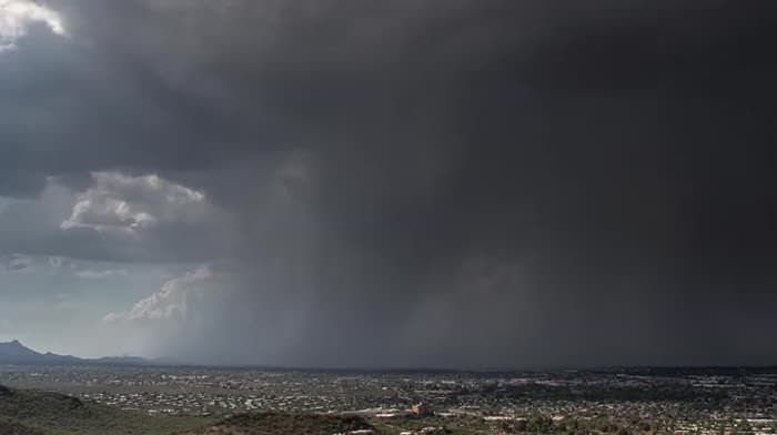 Massive wet-microburst from thunderstorm in slow motion over Tucson Arizona