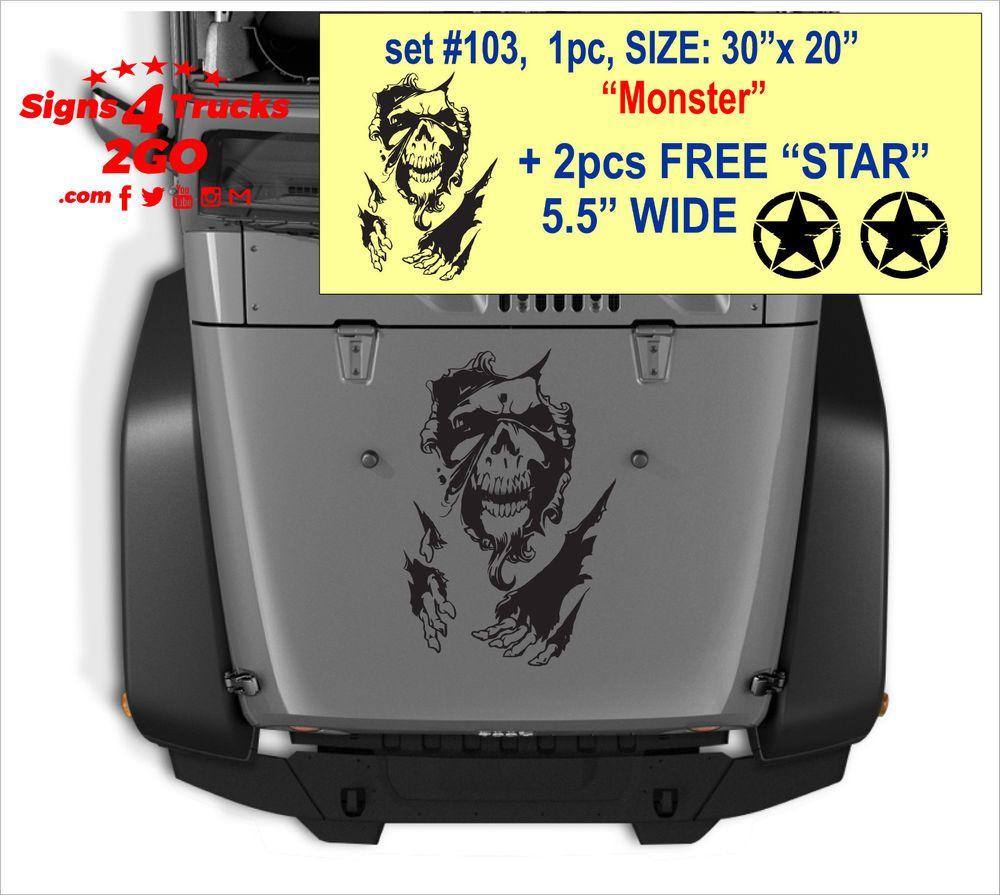 "2 FREE /""Star/"" Decals Vinyl Graphic JEEP WRANGLER #0034 Hood Blackout SAHARA"