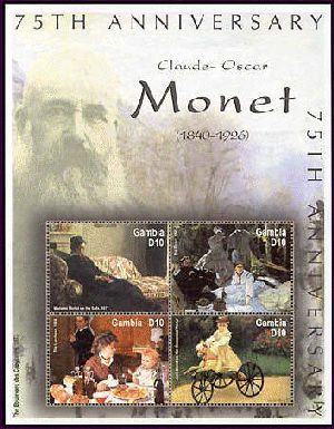 Country: Gambia Topic: Art Item: CLAUDE MONET SHEETLET