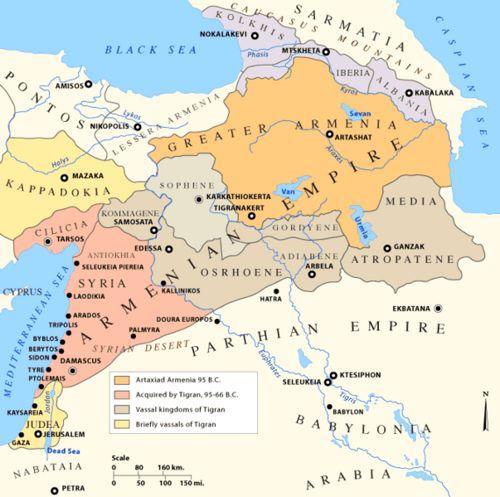 the armenian empire at it s peak 66 bce
