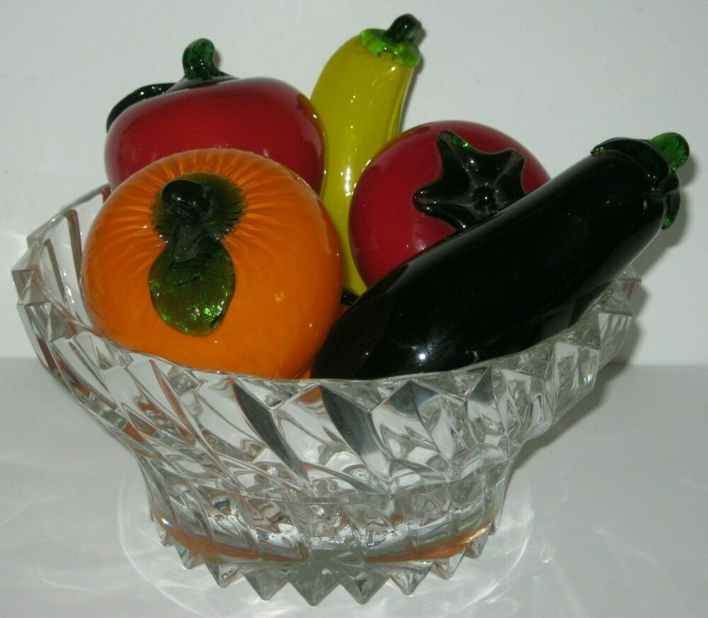 Vintage Hand Blown Italian Art Glass Life Size Fruit Vegetables Lot Of 6 Unbranded Glass Crafts Glass Art Glass