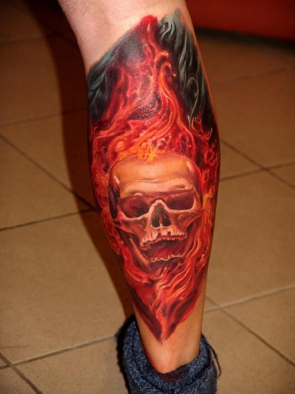 Skull In Flames By Boris Graphic Design Tattoos Cool Tattoos For Guys Tattoos