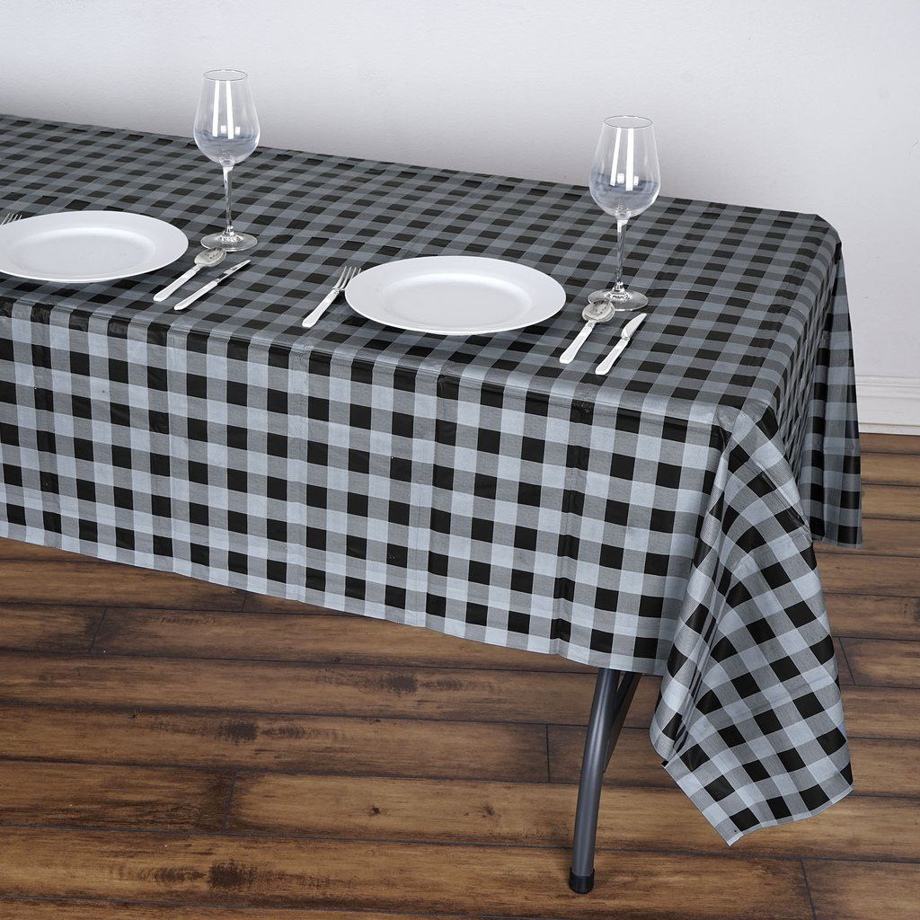 54 X 108 Disposable Checkered Plastic Vinyl Picnic Birthday Party Home Tablecloth Gray Black Plastic Table Covers Plastic Tables Plaid Tablecloth