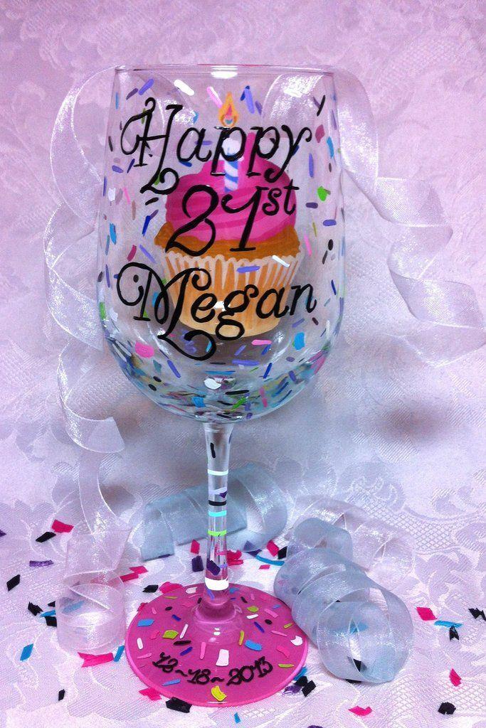 Happy Birthday Cupcake Wine Glass Diy Painted Gift Birthday