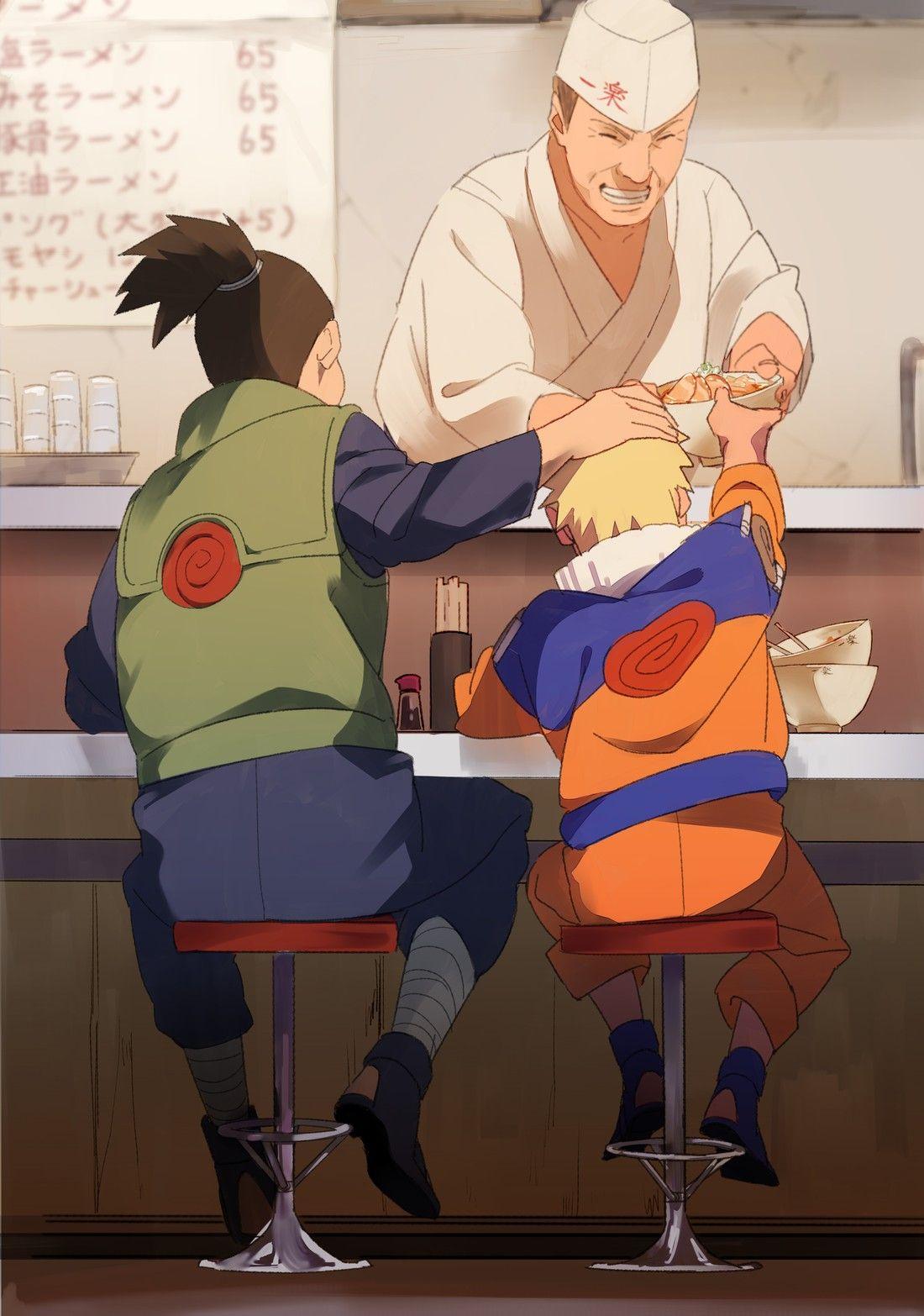 Naruto with Iruka eating ramen -Sure brings back memories ☺️ #narutowallpaper