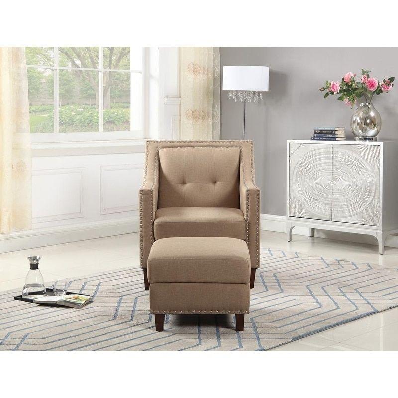 Accent Chair With Storage Ottoman Beige Fabric Storage Chair