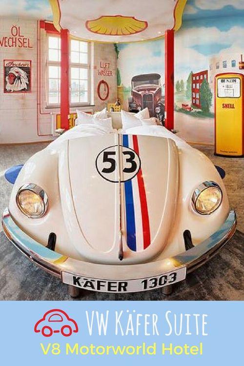 V8 hotel motorworld stuttgart böblingen car themed hotel room vw beetle petrol