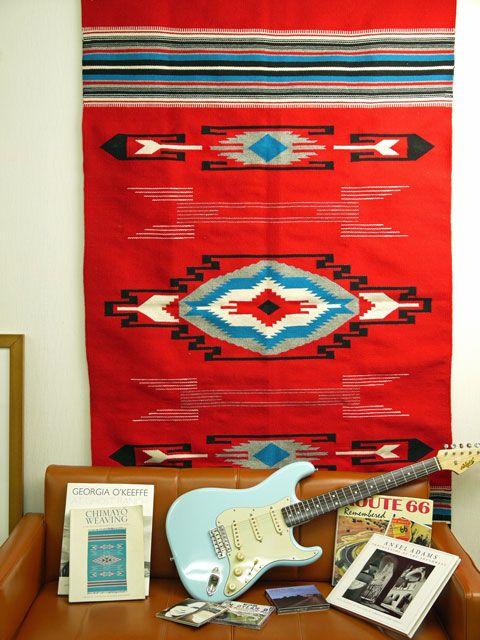 Gorgeous!! Chimayo style! 【当店オリジナル】 MK-WORK-092 『ヴィンテージ・チマヨ・スタイル』ブランケット 1795 x 1065 mm スカーレットレッド BEAR TRACK、e-beartrack.com