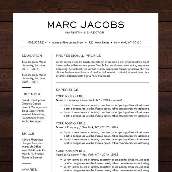 Modern Resume Template - CV Template for Word, Mac or PC ...