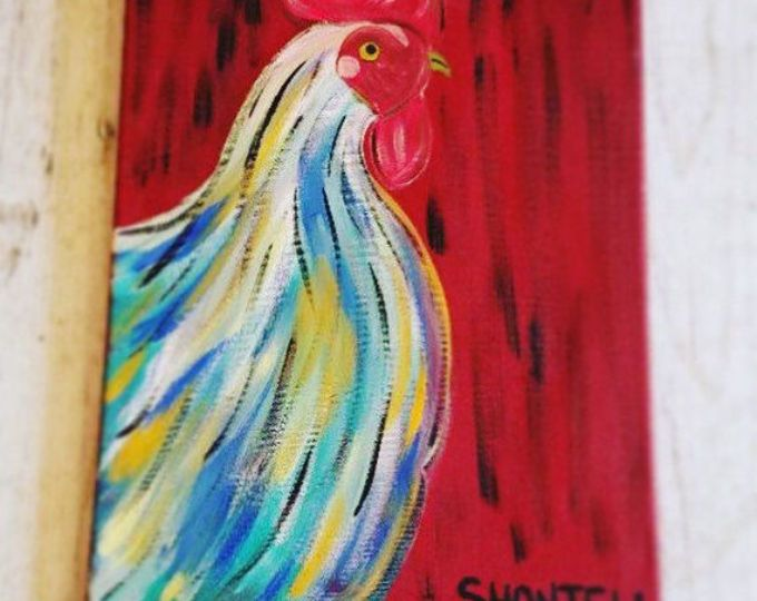 20x30 abstract rooster on canvas double thick canvas farm house painting no need to frame ready now