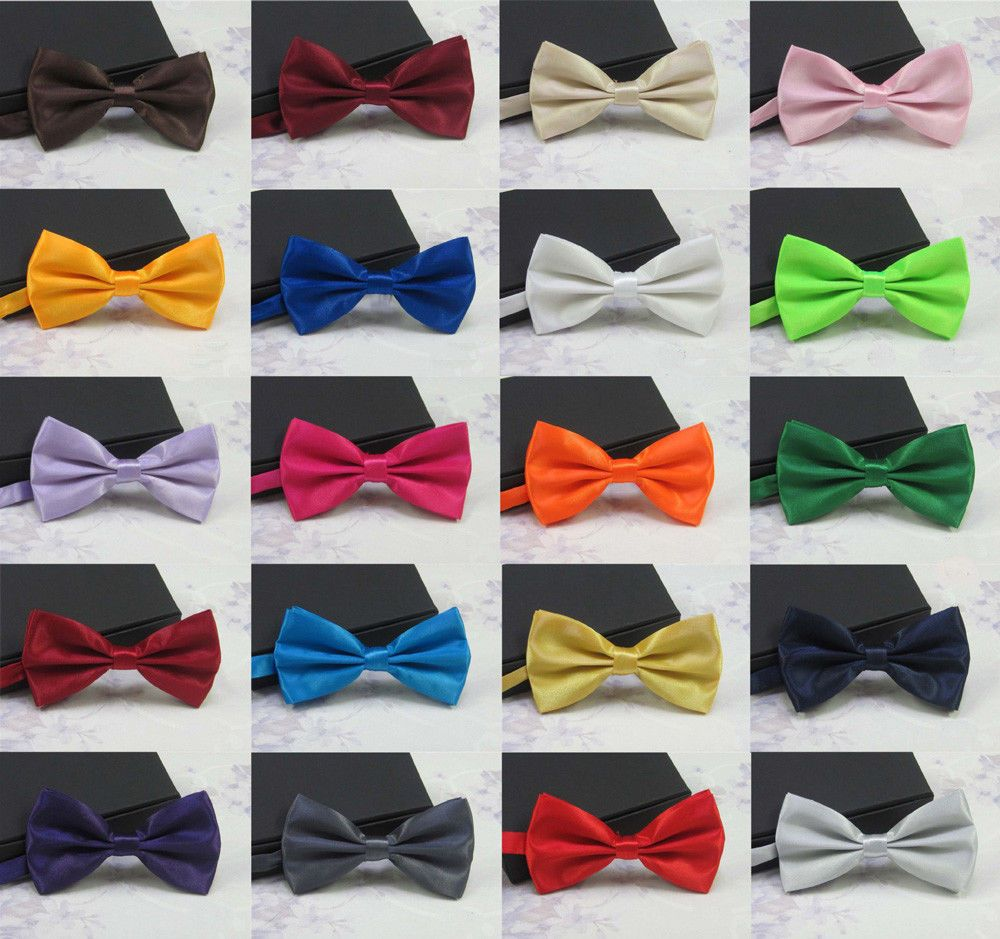 Mens Designer Bow tie Adjustable Wedding Formal Striped Plain BowTie Neckties