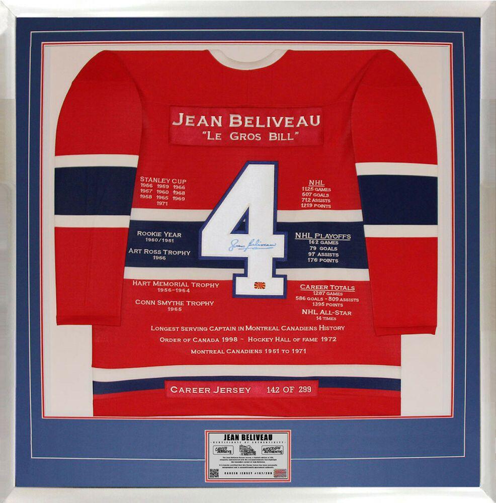 Jean Beliveau Autographed Framed Career Jersey Ltd Ed