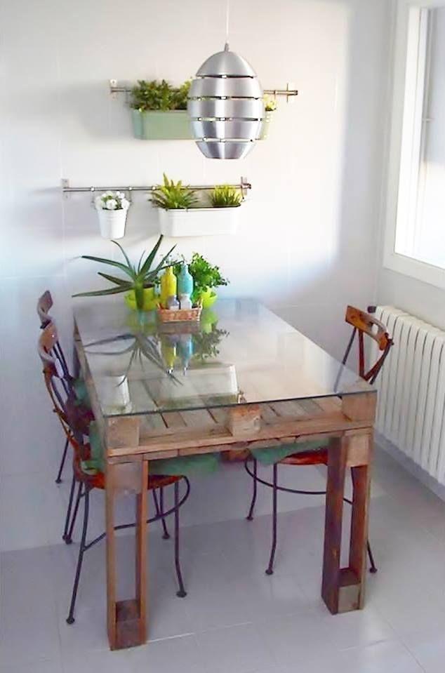 Mesas hechas con palets de madera artesanias deco - Mesas de palets de madera ...