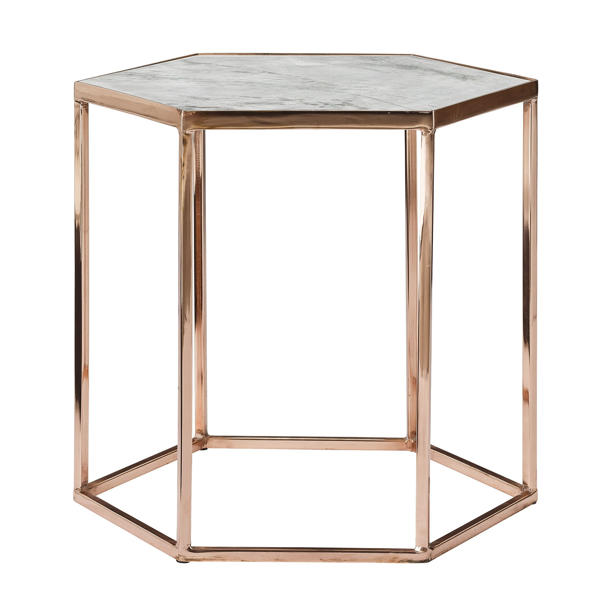 Stolik Miedz Marmur Copper Side Table Marble Top Coffee Table