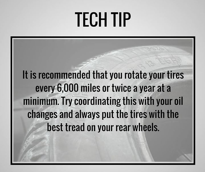 Be sure to rotate your tires every 6000 miles or at least twice a year. #TipTuesday