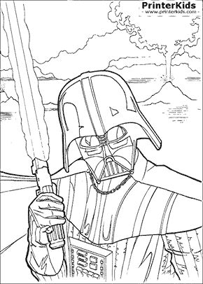 star wars darth vader with lightsaber coloring page