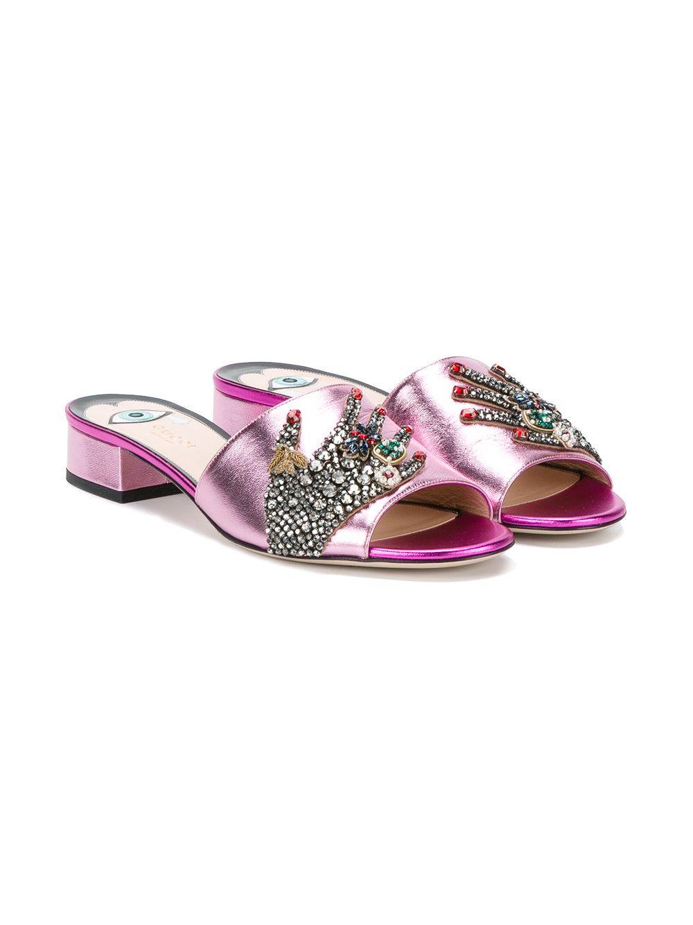 659c7de47865 Gucci crystal hand applique sandals