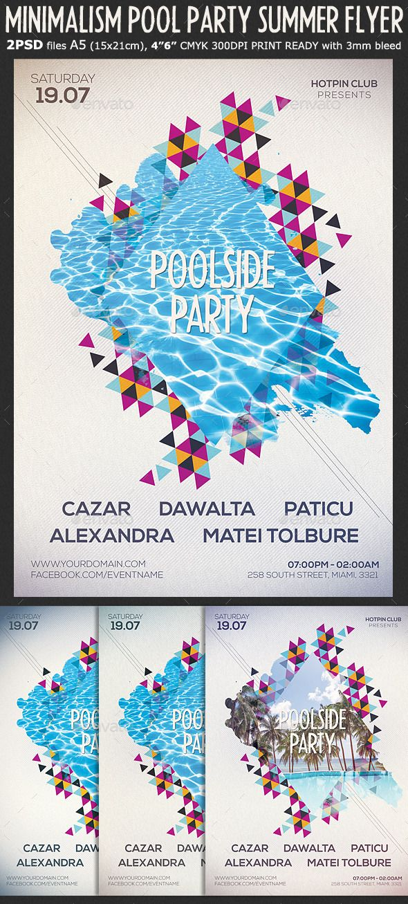 Minimalism Summer Party Flyer Template | Flyer-Vorlage, Minimal und ...