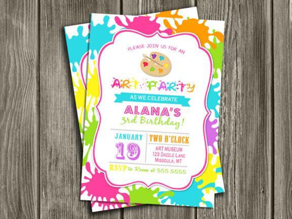 printable paint art party birthday invitation | modern invite, Birthday invitations