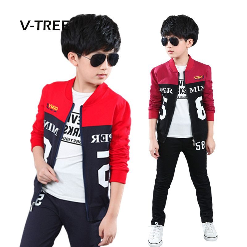 0eb3692177cf New spring 4-12 years zepper boys clothing sets teenagers baby boys ...