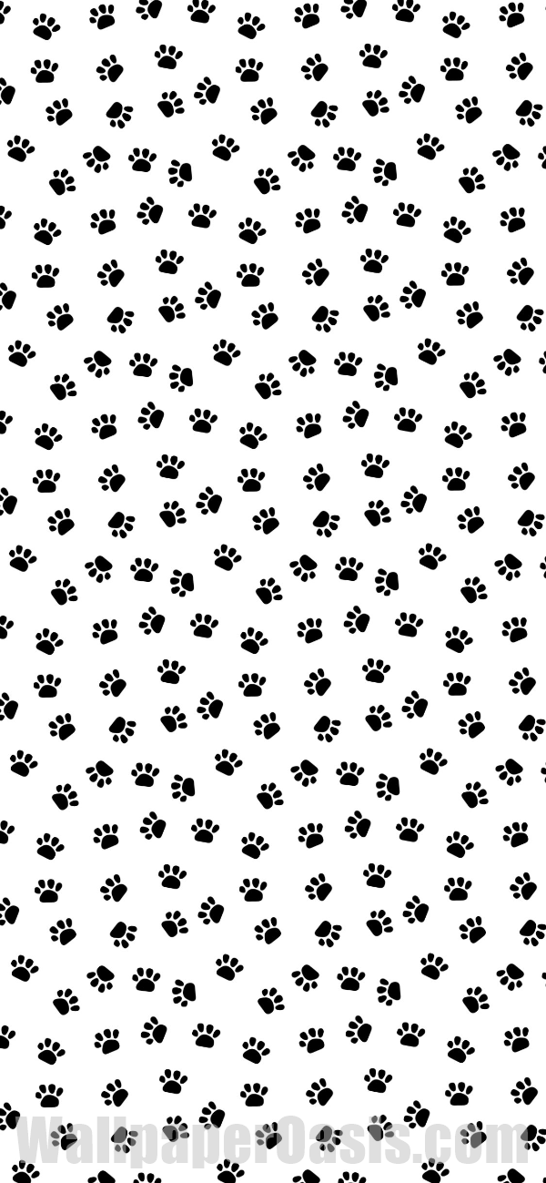 Free black and white paw print iPhone wallpaper. This