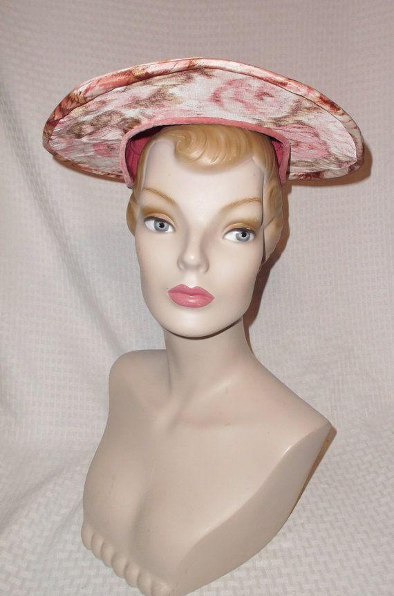 1950s Vintage Pink Rose Print Wide Brim Hat from Shillito's Cincinnati