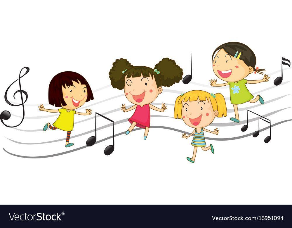 Happy Children Dancing With Music Notes In Vector Image On Vectorstock Kids Dance Happy Kids Kids Background