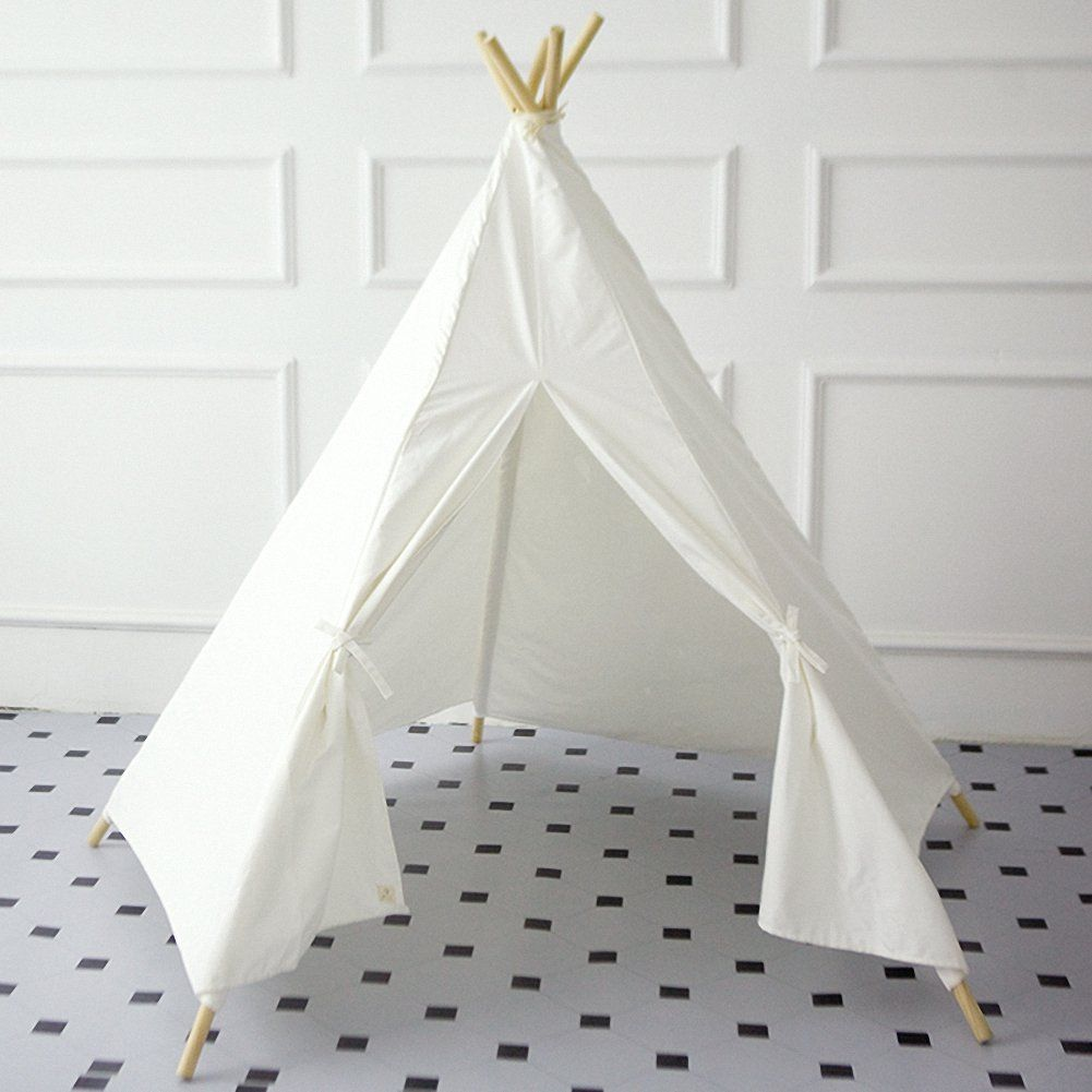 Amazon.com: Fun Solid White Teepee Tent Kids Play Tent - Five ...