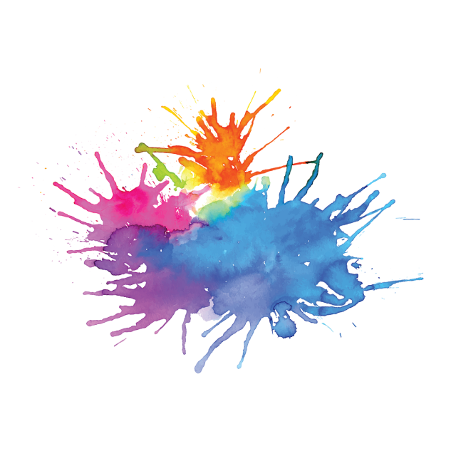 Multicolored Watercolor Stain Background Brush Effect