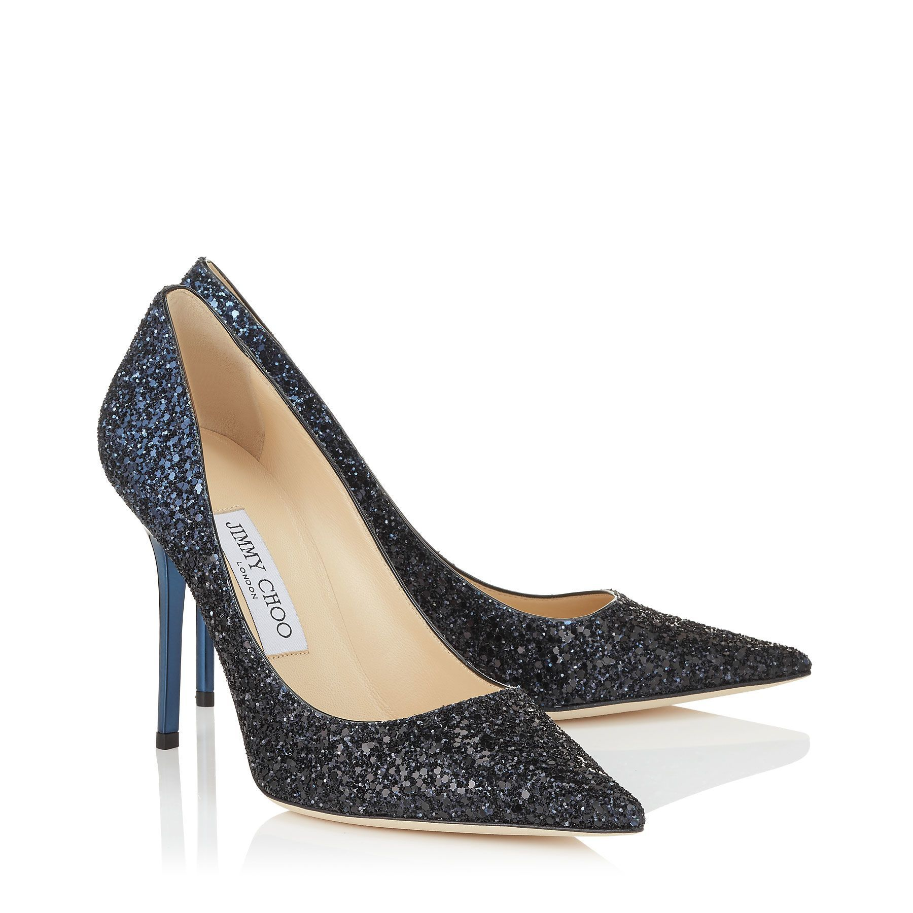 7e5679b104d ... jimmy choo · black and navy coarse glitter degrade fabric pointy toe  pumps ...