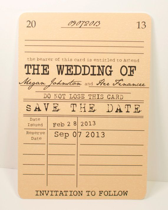 Vintage Library Save The Date Card Literary Theme Library Card Wedding Invitations Save The Date Cards Vintage Wedding Invitations