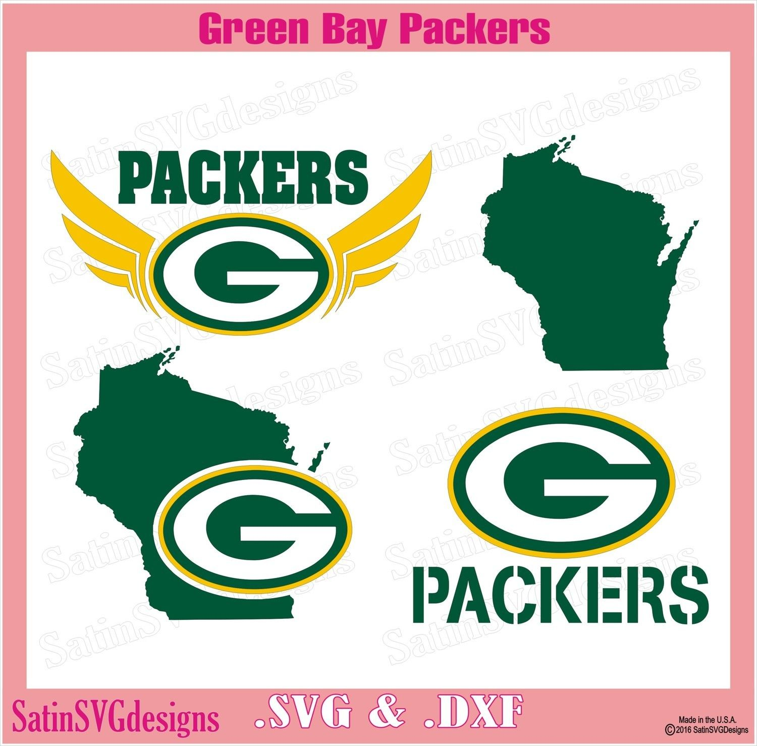 Green Bay Packers Design Set SVG Files, NFL Football